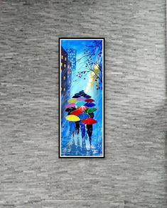 Original Abstract Painting Acrylic -Rainy Night With Umbrellas - Forest Rain Landscape - Colorful Abstract Palette Knife - Ready To Hang