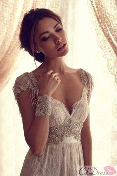 Gorgeous V Neck Lace Beading Short Sleeve Wedding Dress - Lace Wedding Dresses - Wedding Dresses - CDdress.com