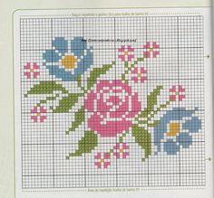 Bordado Borde Bordado, Azul Flores, Pto De, Patrones Bordado, Punto De Cruz, Rosas, Cruz Ramos, Florespuntode Cruz, Cenefas
