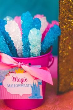 Magic rock candy wands at a princess birthday party! See more party planning ideas at CatchMyParty.com!