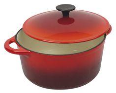 Tradifonte 511191 - Cocotte rotonda smaltata Grand Chef in ghisa d'acciaio, ø24cm, 5 l, colore: Rosso