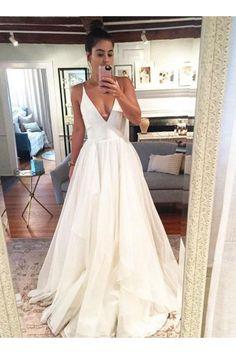 Ruffle wedding dress - Simple A Line Spaghetti Straps White Wedding Dresses with Ruffles White Wedding Dresses, Wedding Gowns, Prom Dresses, Boho Wedding, Weeding Dresses, Affordable Wedding Dresses, Wedding White, Kleinfeld Wedding Dresses, Grecian Wedding Dresses
