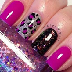 Without the black nail, keep it pink or sparkle