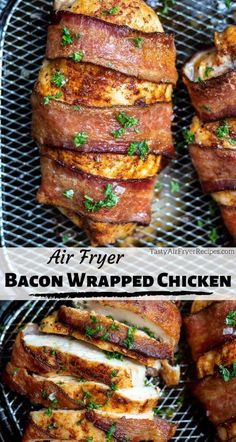Dinner is so easy and delicious with this Air Fryer Bacon Wrapped Chicken Breast Recipe. Juicy chicken breast seasoned with tasty spices, wrapped with bacon then air fried to perfection for a fantastic low carb Keto-friendly meal. New Air Fryer Recipes, Air Frier Recipes, Air Fryer Recipes Breakfast, Air Fryer Dinner Recipes, Recipes Dinner, Holiday Recipes, Dinner Ideas, Air Fried Food, Fried Chicken Breast