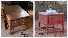 Number Fifty-Three: Vintage Stained and Painted End Table - General Finishes Tuscan Red Milk Paint