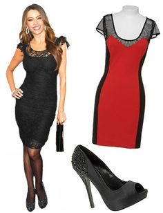 ♕ Curvy Girl | Sofia Vergara -- Hourglass figure Solutions: Showcase your waist, Color Block, Work the Heels, High-Waisted Bandage Skirts, Tuck in a Top.