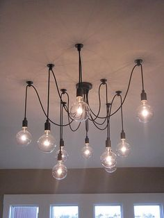 10 Light Cable Hanging Pendant in black