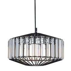 Highlight any room with this deluxe metal and crystal prism pendant light from Ivory & Deene. The handsome design combines industrial style with sparkling crystals and features a matt black cage surrounded by slender crystal prisms to form a bold, unique look that would suit any domestic or commercial space.