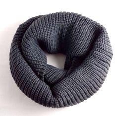 Charcoal gray infinity scarf ribbed knit ingle double loop cowl Look by M #LookbyM #CowlInfinity #ColdWeather