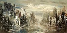 City Painting Skyline Urban Cityscape Waterdront Original Palette Knife handmade black white silver by Tatiana Iliina - Made to order