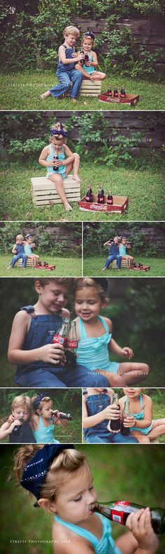 Coca-cola photoshoot, end of summer, coke photoshoot Coca-cola photoshoot, end of summer, coke photoshoot Photography Mini Sessions, Sibling Photography, Summer Photography, Photography Props, Children Photography, Photo Sessions, Themed Photography, 4th Of July Photos, Summer Photos