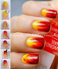 Fire nail art Red and yellow flames nail art nail designs nail trends Hunger Games nail art. Get Nails, How To Do Nails, Hair And Nails, Fall Nail Art, Autumn Nails, Fire Nails, Creative Nails, Creative Makeup, Fabulous Nails