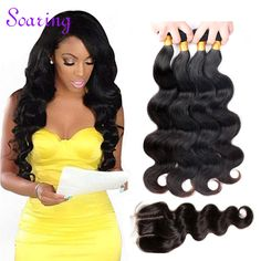 Cheap Brazilian Virgin Hair With Closure 7A Brazilian Body Wave with Closure 4 Bundles Mink Brazilian Hair with Closure Tissage -- Click the VISIT button to find out more