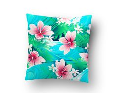 Aqua and Pink Hibiscus Throw Pillow from our Surfer and Beach Bedding Collection by SurferBedding on Etsy
