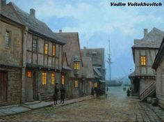 The morning in the harbour by voitv on DeviantArt Neo Victorian, Fantasy Illustration, Town And Country, Architecture, Artsy Fartsy, Worlds Largest, Art History, Illustrators, Medieval