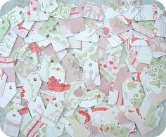 ONLY 2 SETS  Shabby Pinks and Greens by LittlePaperFarmhouse, $4.50
