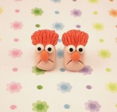 Beaker Muppet Post Earrings Set Polymer Clay Charm...