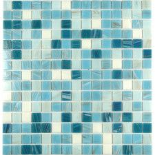 """Swimming Pool 0.75"""" x 0.75"""" Glass Mosaic Tile in Blue Chalk"""