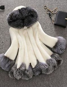 Women's Plus Size Sophisticated Fur Coat,Solid Hooded Fall / Winter White / Black Faux Fur / Raccoon Fur Thick Tops 5224601 2017 – $56.99