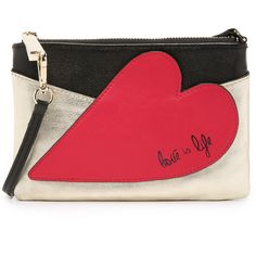 Diane von Furstenberg Patchwork Heart Wristlet ($130) ❤ liked on Polyvore featuring bags, handbags, clutches, wristlet purse, zip wristlet, metallic leather handbags, red leather wristlet and red leather handbag