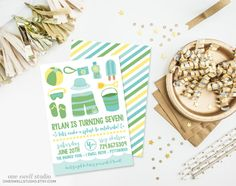 "Monogram Pool Swim Beach Party Green Yellow Aqua - 5x7"" DIY Printable Invitation with customized text (JPEG or PDF file)"