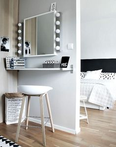 Love the adjoining vanity area of this bedroom