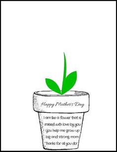 """Print off this free Mother's Day Flower Pot Poem PDF and have your little ones stamp their handprints to make flowers! It says """"I am like a flower that is raised with love by you. You help me grow up big and strong, mom. Mothers Day Flower Pot, Mothers Day Crafts For Kids, Fathers Day Crafts, Happy Mothers Day, Mothers Day Poems Preschool, Poems For Mothers Day, Mothers Day Present, Mothers Day Cards Printable, Mothers Day Saying"""