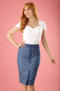 Dancing Days by Banned Judy Hearts Denim Pencil Skirt 120 39 17853 20160330 Casual Chic Outfits, Stylish Work Outfits, Pin Up Outfits, Cheap Party Dresses, Designer Party Dresses, Denim And Lace, Frankenstein, Pin Up Kleidung, Denim Outfit For Women