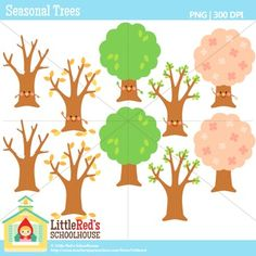 Clip Art - Seasonal Trees - seasonal-themed clipart $