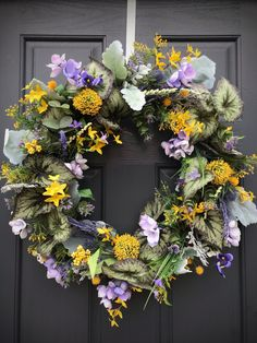Spring Door Wreaths Spring Door Decor Spring Wreaths New Home Gift Mothers Day Gift Purple Yellow Wreath Housewarming Gift Spring Gift Ideas Spring Door Wreaths, New Home Gifts, Purple Yellow, Mother Gifts, Grapevine Wreath, House Warming, Greenery, Floral Wreath, New Homes