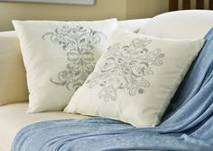 Ivory Elegant Snow Drift Winter Holiday Accent Pillow Set