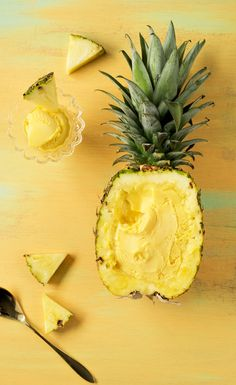 It is summer… Which means all things wonderful, cold and pineapple in my book! On our honeymoon, Matt and I spent a long week in Maui eating fresh pineapple every morning. The taste will always remind cream pineapple ice cream (A Subtle Revelry) Yummy Recipes, Yummy Food, Healthy Recipes, Frozen Desserts, Frozen Treats, Slow Cooker Desserts, Pineapple Ice Cream, Pineapple Sorbet, Dessert Aux Fruits
