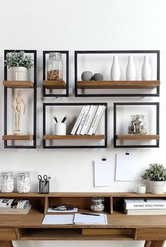 The very decorative teak and metal shelves by D-Bodhi - Economical - metal and wood shelves above desk Shelves Above Desk, Wood Shelves, Metal Shelving, Home Office Furniture, Wood Furniture, Wood Desk, Wall Wood, Trendy Home, Cheap Home Decor