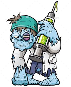 Vector illustration of Cartoon zombie doctor