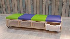 2kick - meubelfabriek - Banken en Fauteuils Montessori Classroom, School 2017, Library Design, Classroom Design, Diy Patio, Diy Storage, Blinds, The Unit, Children