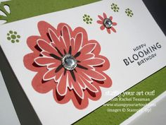 Happy Blooming Birthday Card made with Flower Patch stamp set, Iced Rhinestones, Softly Falling embossing folder, and Curvy Corner Trio punch… #stampyourartout #stampinup - Stampin' Up! - Stamp Your Art Out! www.stampyourartout.com