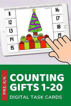 Kids will count the number of Christmas gifts under the tree. Game includes counting up to 20. Use these task cards as a fun center to improve math skills in preschool and kindergarten. This digital resource is compatible with google classroom and seesaw and perfect for distance or homeschooling.  #digital #boom #task cards #math #count #number #pre-k #preschool #kindergarten #christmas #santa #gift #present #rudolph #winter #december Interactive Learning, Learning Games, Math Skills, Google Classroom, Business For Kids, Deck Of Cards, Task Cards, Pre School, Distance