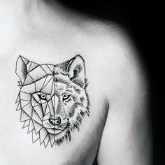 Wolf With Half Geometric Design Minimalist Guys Chest Tattoos