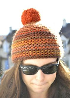 Brown Orange Knitted Winter Hat by contesdemaison on Etsy, $35.00