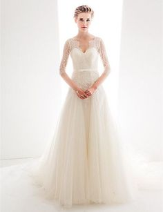 Wedding Dress A Line Court Train Lace And Tulle Queen Anne Neckline Bridal Gown With Sash