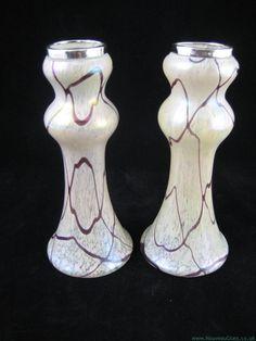RINDSKOPF 'Veined' Vases / Art Nouveau Glass & Decorative Arts