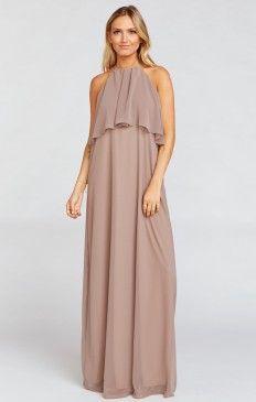 Aimee Ruffle Maxi Dress ~ Dune Chiffon