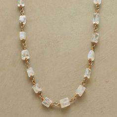 "MOON SLIVERS NECKLACE -- Luminescent moonstone shining on a 22kt vermeil chain adds its glow to you. The ultimate necklace to layer, it complements all. Exclusive. 17""L."