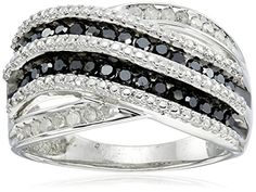 Sterling Silver Black and White Diamond 12cttw Twisted Ring Size 7 * Click on the image for additional details.(This is an Amazon affiliate link and I receive a commission for the sales)