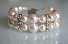 Swarovski White Pearl Bracelet with Rhinestone Spacers - BitsyBead