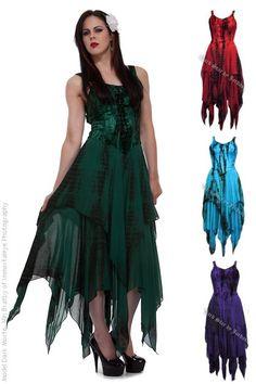 Maeve Gothic Hippy Tie Dye Velvet Witchy Dress