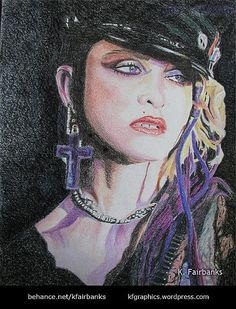 Pencil drawing of Madonna - title: Disco Dolly - by K. Fairbanks / View…