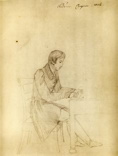 A sketch of the young Chopin by Eliza Radziwill 1826, probably drawn at the hunting lodge of Prince Antoni Radziwill at Antonin, Poland. michael-moran