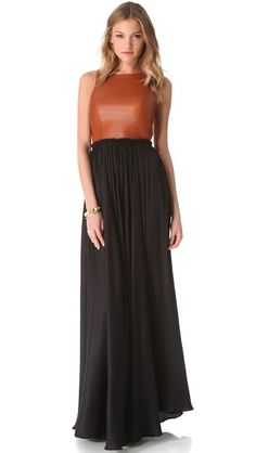 Marna Ro Shirred Waist Dress with Leather Bodice Cold Weather Fashion, Happy Women, Mom Style, Women's Fashion Dresses, Pretty Dresses, Casual Chic, Lounge Wear, Dress Up, Fashion Design