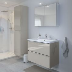Storage is essential in busy bathrooms. The Imandra gloss taupe wall cabinet is perfect for keeping your space organised and clutter free. To help you design your own dream bathroom our online Bathroom Planner has all the tools! Basin Cabinet, Vanity Cabinet, Vanity Units, Modern Bathroom, Small Bathroom, Master Bathroom, Beige Bathroom, Boho Bathroom, Bathroom Ideas